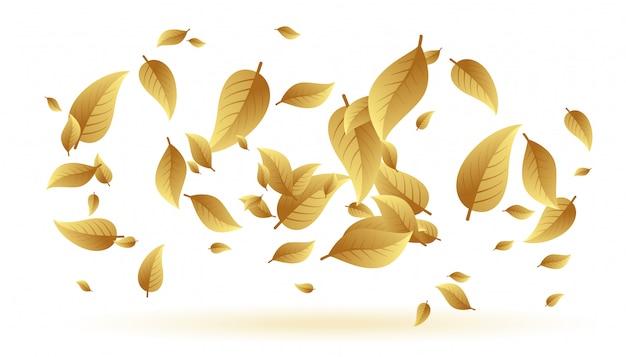落下またはフローティングの葉の背景 無料ベクター