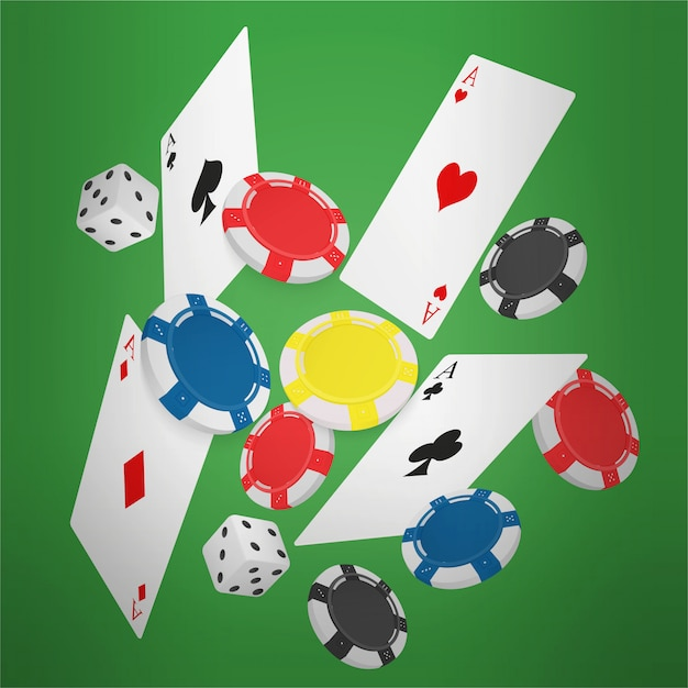 Falling poker cards and chips Premium Vector