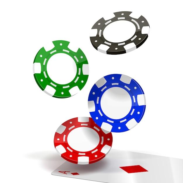 Chip di poker che cadono isolati Vettore gratuito