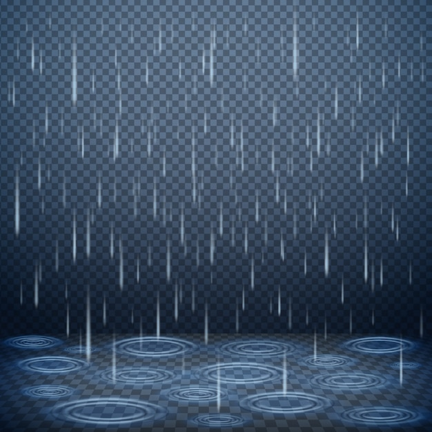 Falling rain drops realistic vector illustration Free Vector