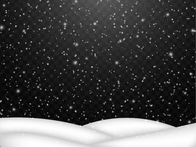 Falling snow. abstract snowflake  fall of snow with snowdrift Premium Vector