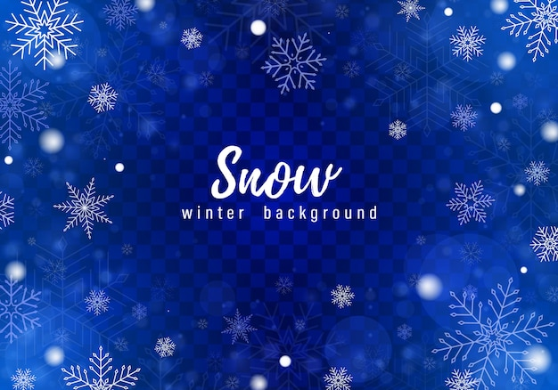 Falling snow background Premium Vector