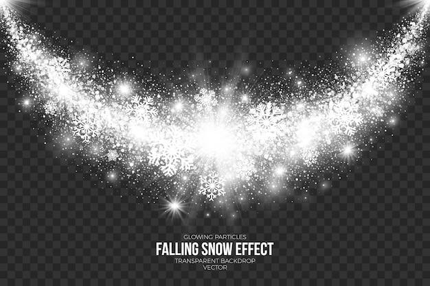 Falling snow effect on transparent background Premium Vector