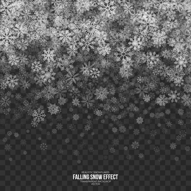 Falling snow effect transparent Premium Vector