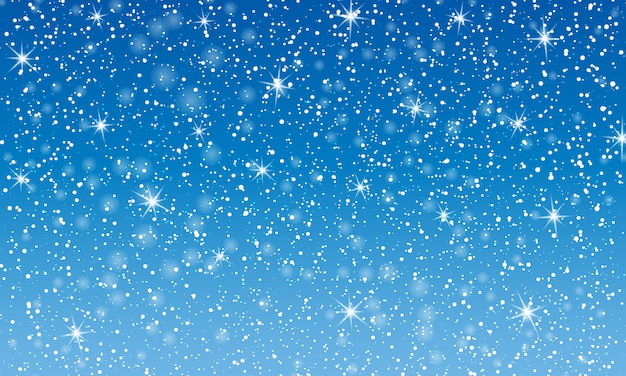 Falling snow.  illustration with snowflakes. winter blue sky. christmas texture. sparkle snow background. Premium Vector