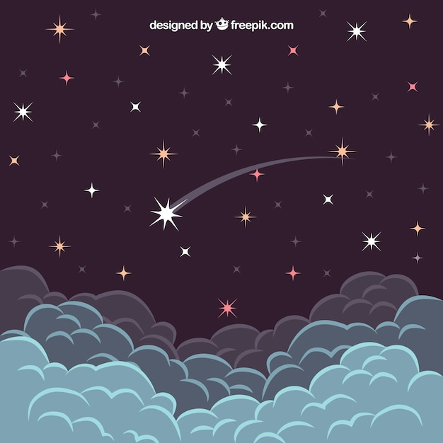 Falling star above the clouds Free Vector