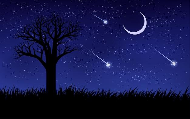 Падающие звезды в ночном небе Premium векторы