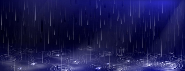 떨어지는 물 방울과 웅덩이 진한 파란색 배경에 잔물결 무료 벡터