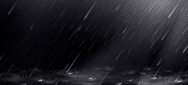 Falling water drops and puddle ripples Free Vector