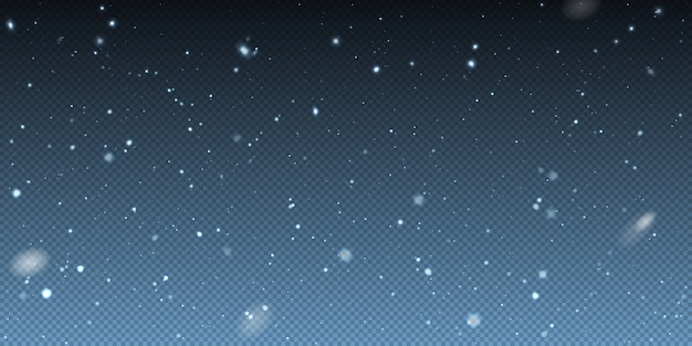 Falling winter christmas realistic snow on transparent background. bokeh lights and flying snowflakes in the air. overlay texture of winter snowstorm.  heavy snowfall, snowflakes Premium Vector