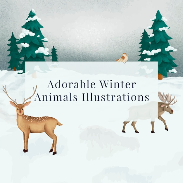 Fallow deer and a moose on a snowy night Free Vector