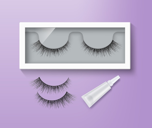 False eyelashes in packaging and glue tube. pair of black long lashes on purple background Premium Vector