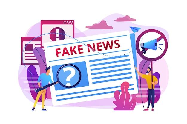 虚偽の情報放送。報道機関、新聞記者、編集者。フェイクニュース、ジャンクニュースコンテンツ、メディアコンセプトの偽情報。 無料ベクター