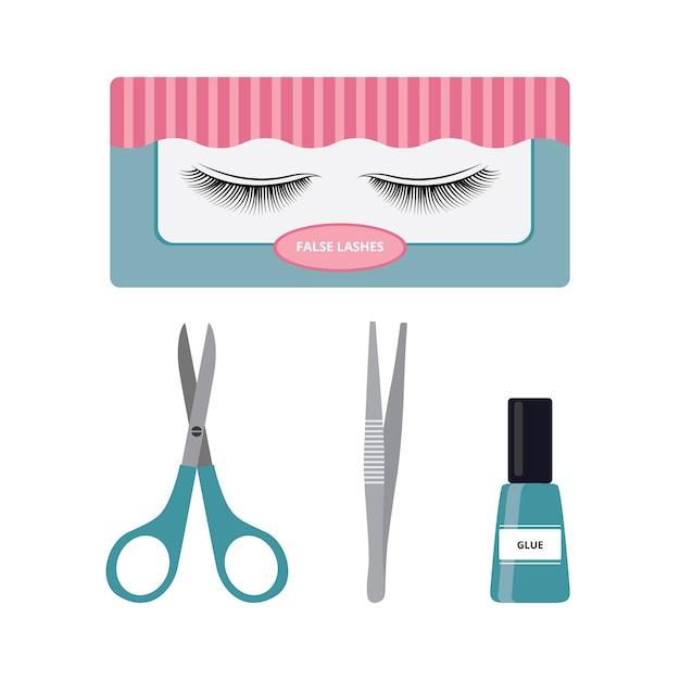 False lashes and application tools set  beauty fake eyelashes Premium Vector