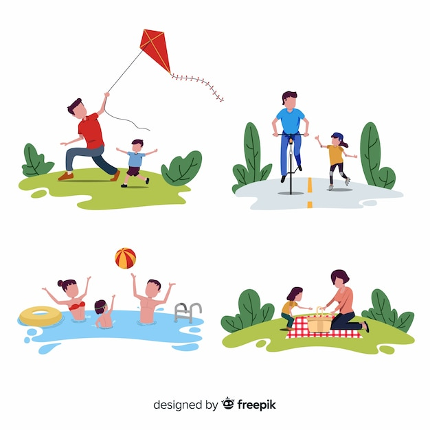 Familiar activities outdoor Free Vector