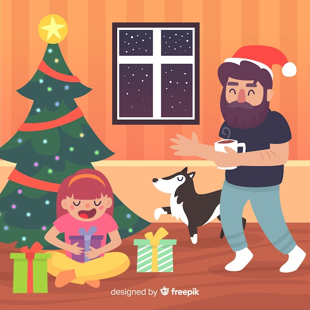 Familiar scene christmas background Free Vector