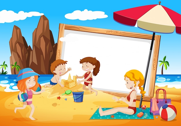 Families on beach frame Free Vector