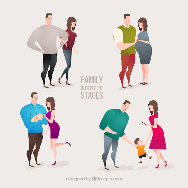 Families collection in different stages
