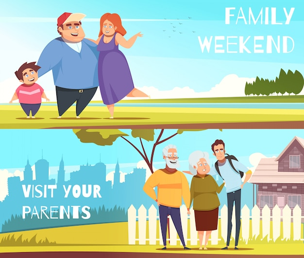 Families horizontal banners Free Vector
