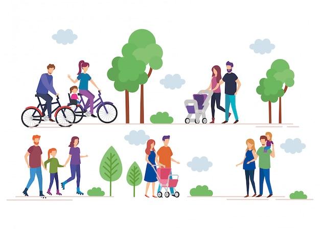 Семьи в парке Бесплатные векторы