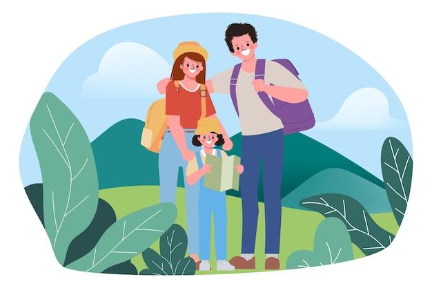 Семья людей рюкзак открытый путешествия концепции. Premium векторы