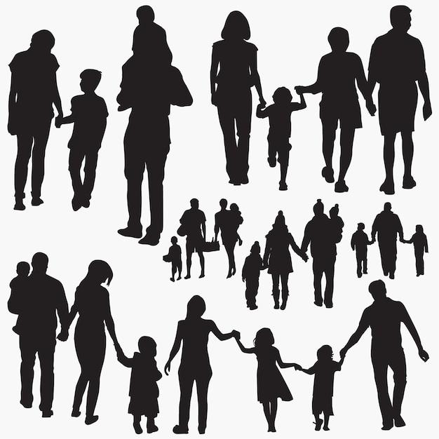Family 5 silhouettes Premium Vector