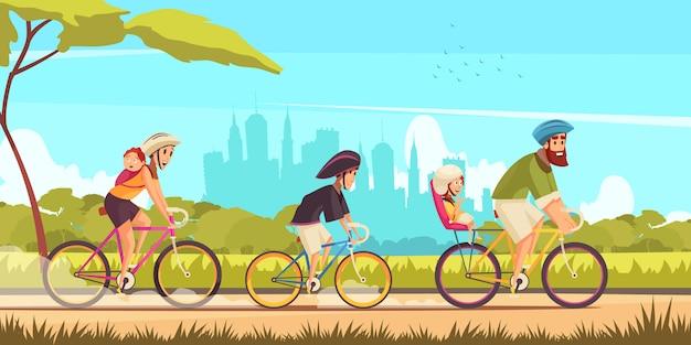 Семейный активный отдых родителей и детей во время езды на велосипеде на фоне городского силуэта мультфильма Бесплатные векторы