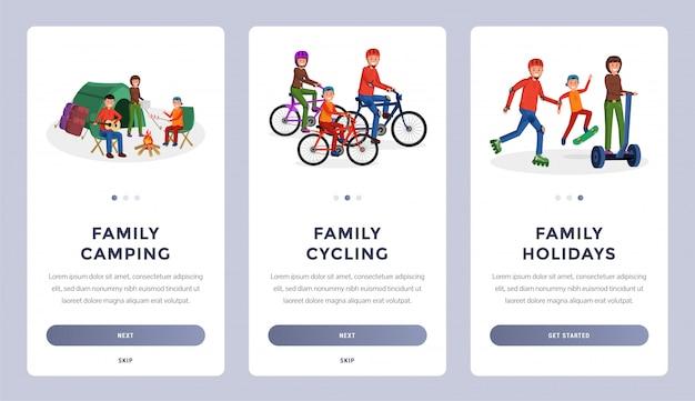 Family activities flat set Premium Vector