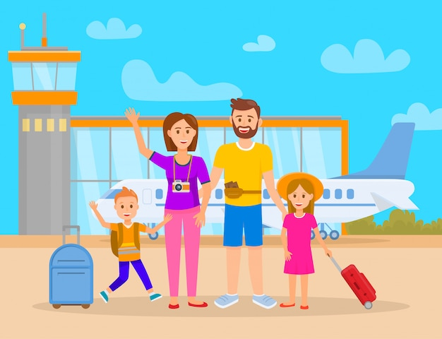 Family in airport terminal vector illustration. Premium Vector