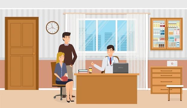 Семья на консультации врача в кабинете поликлиники. врач в форме дает двум пациентам лекарственные препараты. Premium векторы