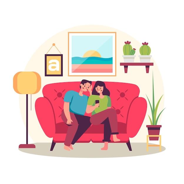 Семья дома проводить время вместе Бесплатные векторы