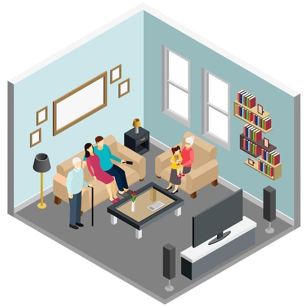 家でテレビを見ている家族 無料ベクター