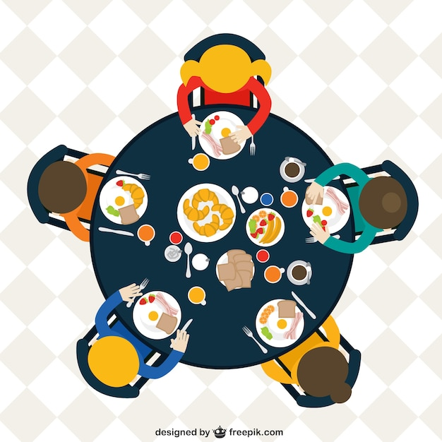 Family At The Table Eating Breakfast Free Vector