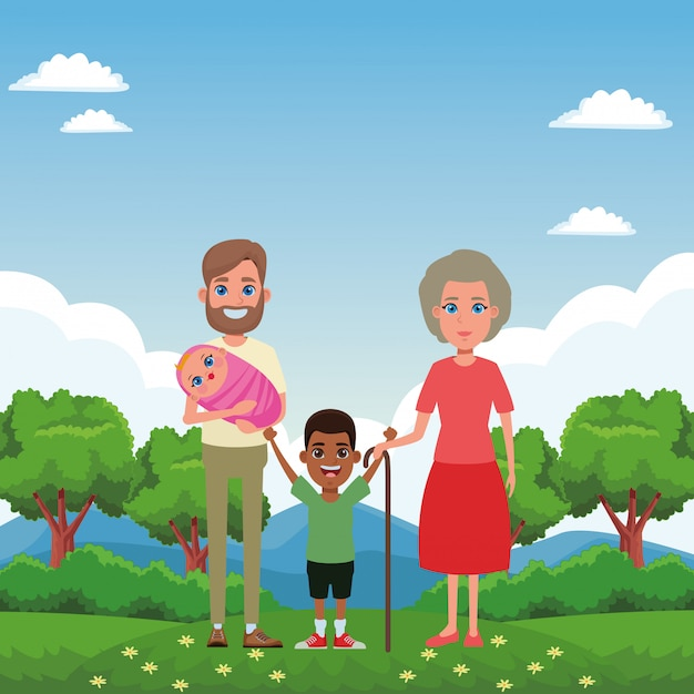 Family avatar cartoon character portrait Free Vector