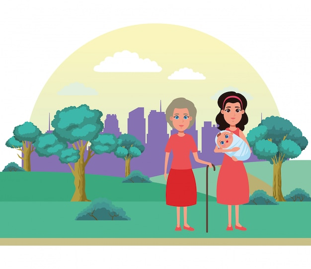 Family avatar cartoon character portrait Premium Vector