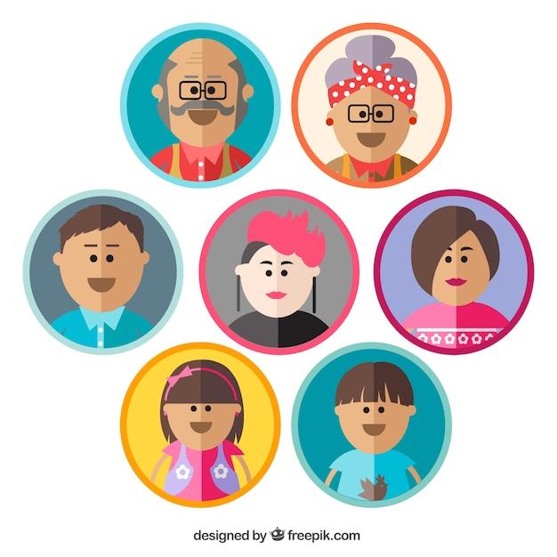 Family avatars Free Vector