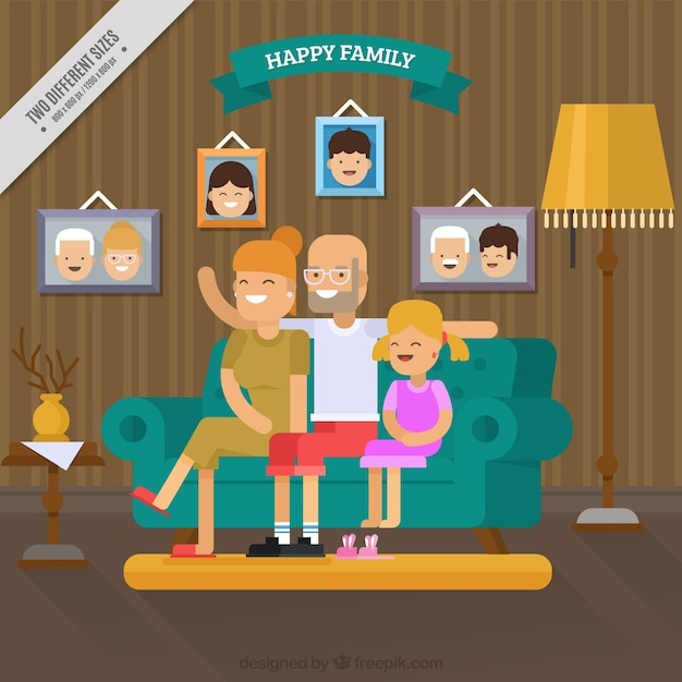 Family background having fun in the living room\ in flat design