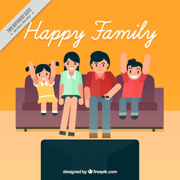 Family Background In Living Room Watching Tv Free Vector