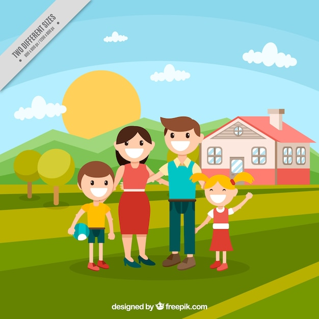 Family background with a house in the field in\ flat design