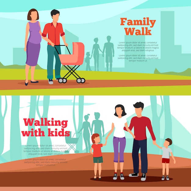 Family banners set Free Vector