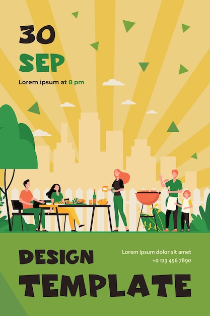Family barbecue party on backyard. people grilling food in park or garden, sitting at table and eating. flyer template Free Vector