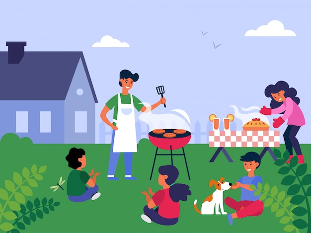 Family barbecue party Free Vector