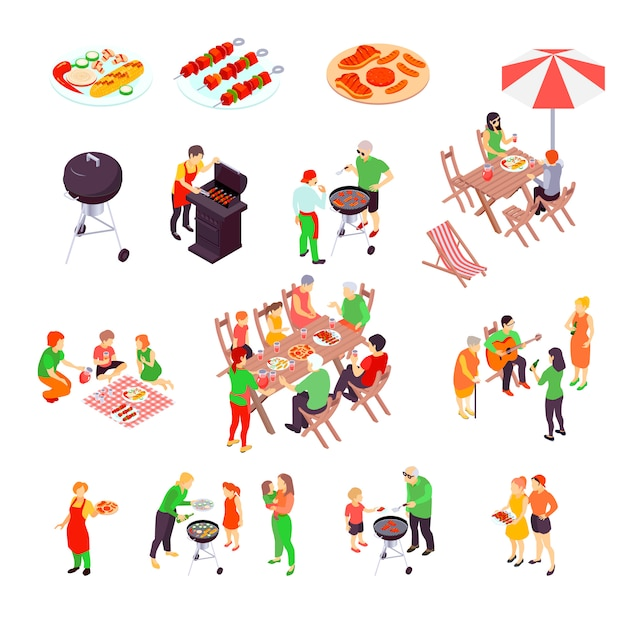 Family barbecue picnic isometric scenes Free Vector