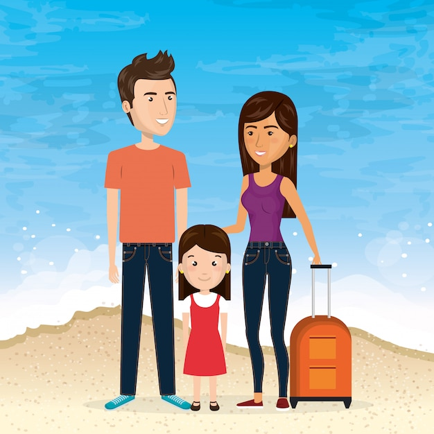 Family in the beach summer vacations Free Vector