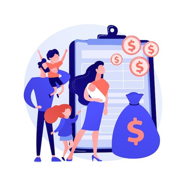 Семейное пособие абстрактное понятие векторные иллюстрации. семейное налоговое пособие, выплата на ребенка, помощь в воспитании детей, экономическая поддержка, страховой агент, копилка, абстрактная метафора денег. Бесплатные векторы