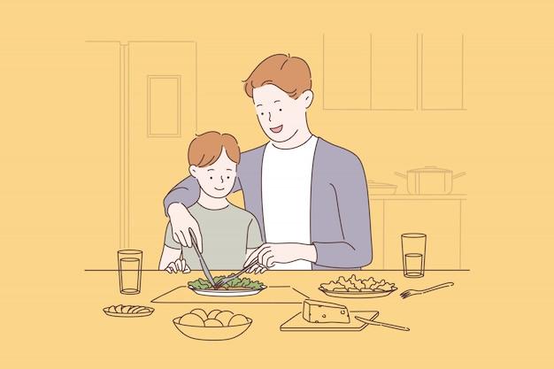 Family bonding, happy parenting concept Premium Vector