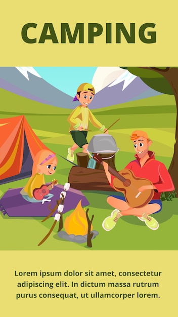 Family camping banner, father son daughter in camp Premium Vector