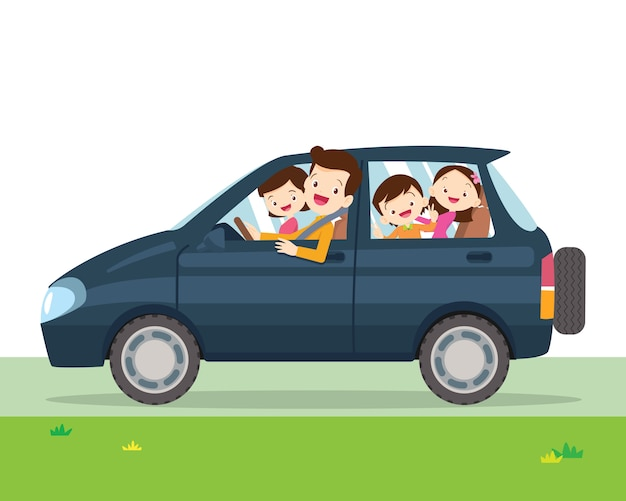Family car simplified illustration of a vehicle Premium Vector