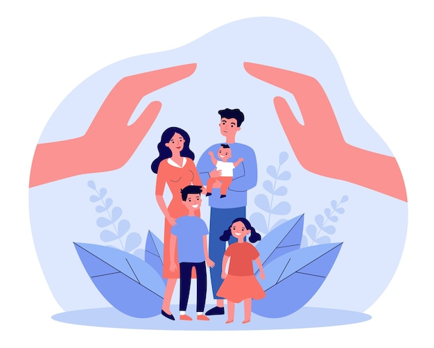 Family care or help concept. human hands above parents couple and three children.  illustration for hygiene, state protection, assistant topics, advertising poster template Premium Vector