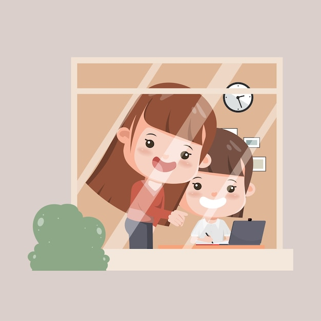 Family caregivers keeping children learning while at home. mother with daughter learning online school. Premium Vector